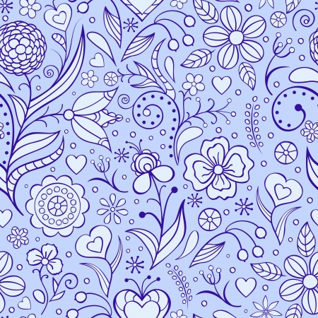 Vector illustration of seamless pattern with abstract flowers Floral background Stock Vector - 16760492