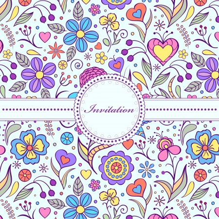 Vector illustration of  floral invitation card   or place your text  Çizim