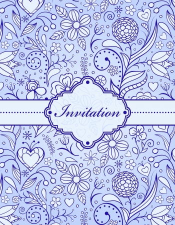 Vector illustration of  floral invitation card   or place your text  Vector