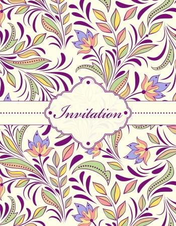 Vector illustration of  floral invitation card ( or place your text) Çizim
