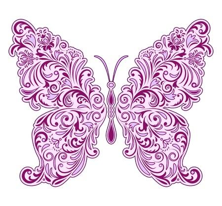 papillon rose: illustration de papillon floral abstrait isolé sur fond blanc