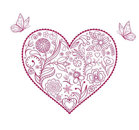 Vector illustration of  floral  valentine heart isolated on white background Stock Vector - 16878570