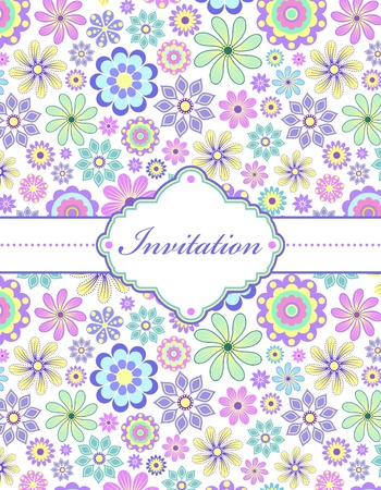 illustration of  colorful floral invitation card ( or place your text) Stock Vector - 16931126