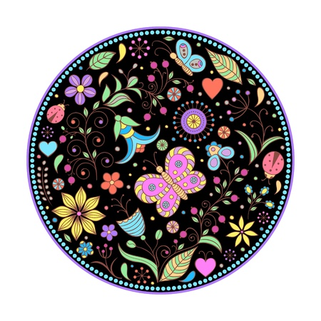 Vector illustration of floral hand drawn colorful pattern. Vector