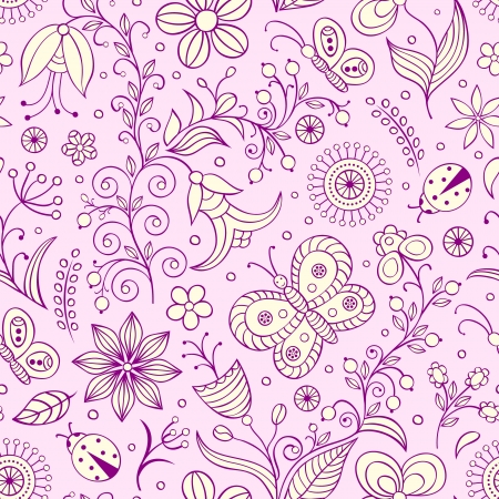 Vector illustration of seamless pattern with abstract flowers.Floral background Stock Vector - 16992412