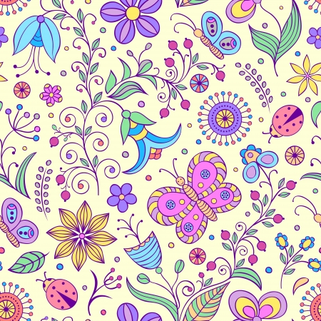 Vector illustration of seamless pattern with abstract flowers.Floral background Stock Vector - 16992413