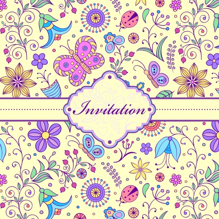 purple butterfly: Vector illustration of  colorful floral invitation card ( or place your text) Illustration