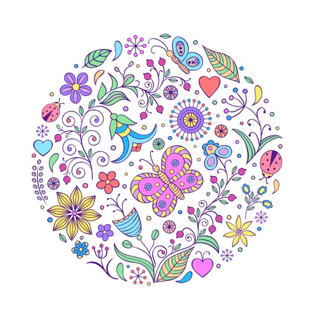 Vector illustration of floral hand drawn colorful pattern on white background Stock Vector - 16992514