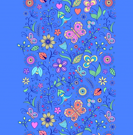 Vector illustration of seamless pattern with abstract flowers.Floral background Stock Vector - 16992415