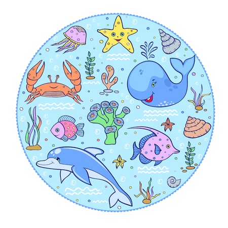 Vector illustration of  colorful underwater world  with whale,  crab, dolphin,starfish,  and others. Vector