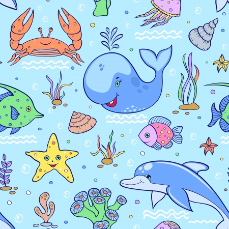 Vector illustration of sea seamless pattern.Underwater world Vector