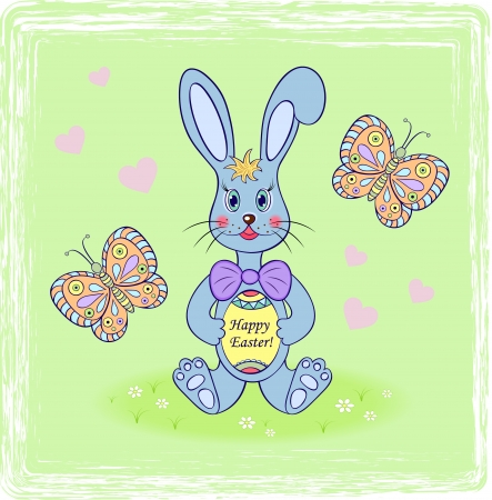 Vector illustration of cartoon rabbit with easter egg  Vector