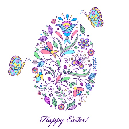 lilac: Vector illustration of  floral  easter egg on white background