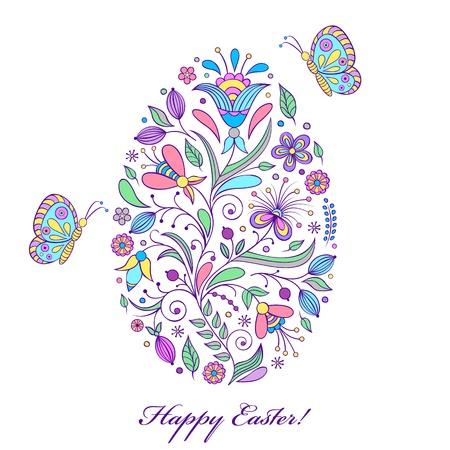 Vector illustration of  floral  easter egg on white background