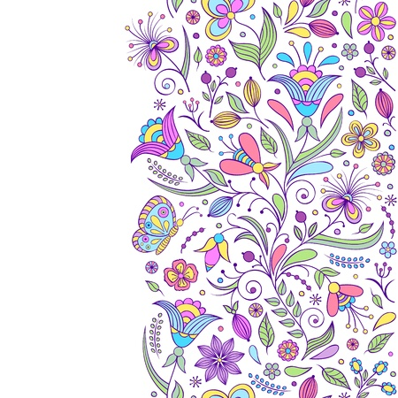 Vector illustration of seamless pattern with abstract flowers Floral background
