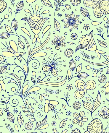 Vector illustration of seamless pattern with abstract flowers Floral background Stock Vector - 17062634