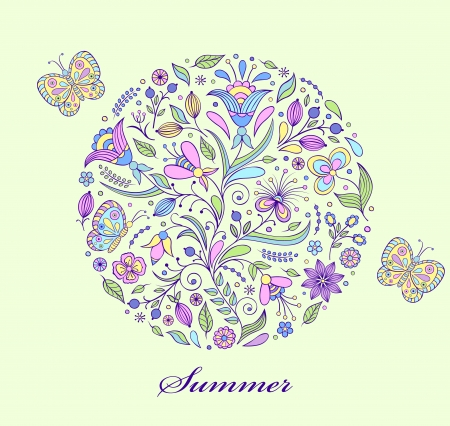 Vector illustration of floral hand drawn colorful pattern  Vector