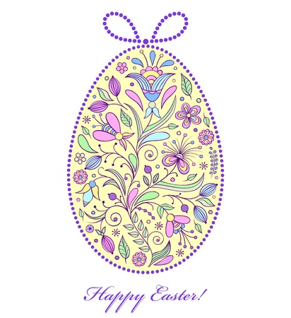 Vector illustration of  colorful  floral  easter egg  Vector