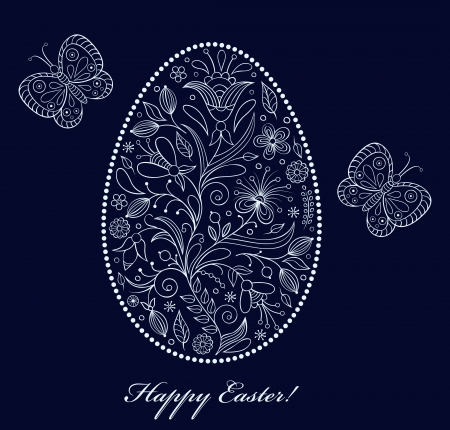 Vector illustration of  floral  easter egg on dark background Stock Vector - 17062637