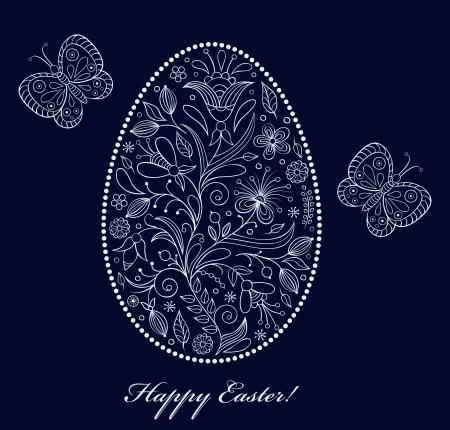 Vector illustration of  floral  easter egg on dark background Stock Vector - 17062637