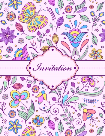 vintage colors: colorful floral invitation card ( or place your text)