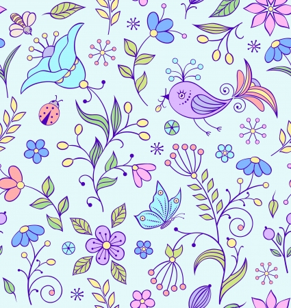 illustration of seamless pattern with abstract flowers  Vector
