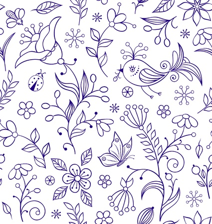 illustration of seamless pattern with abstract flowers  Stock Vector - 17210525