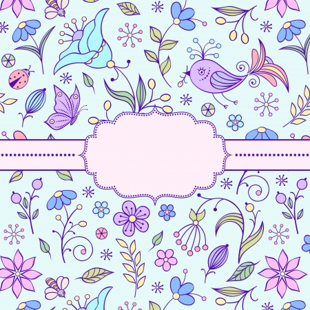 illustration of  frame with floral pattern. Vector