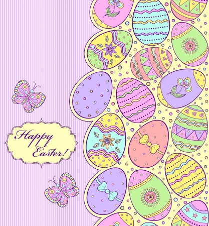 illustration of colorful easter card