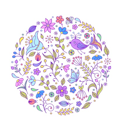 illustration of floral hand drawn colorful pattern on white background Stock Vector - 17259303