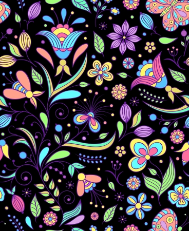 Vector illustration of seamless pattern with abstract flowers.Floral background Stock Vector - 17313766