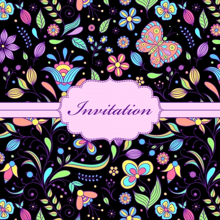 place card: Vector illustration of  colorful hand drawn floral invitation card ( or place your text)