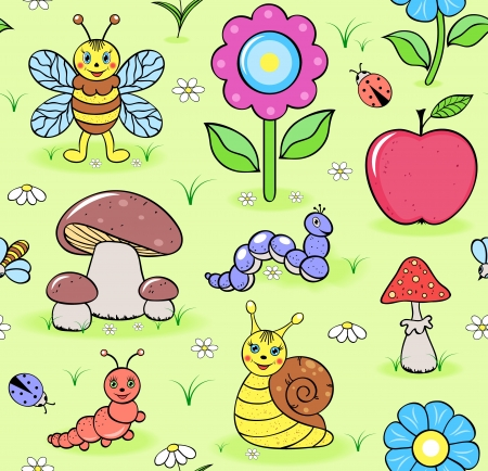 apple snail: Vector illustration of seamless pattern with cute insects on summer meadow Illustration