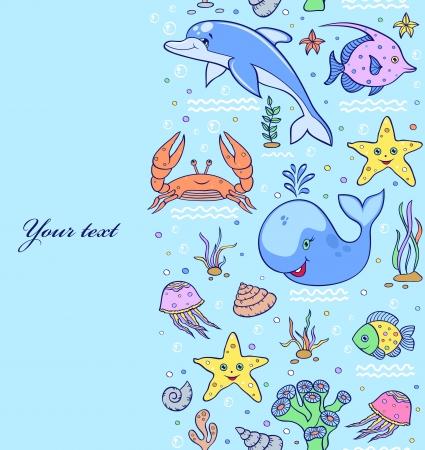 Vector illustration of sea seamless pattern.Underwater world Stock Vector - 17313763
