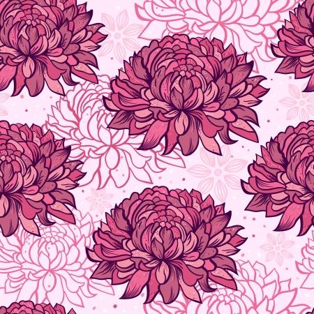chrysanthemum: Illustration of seamless pattern with hand drawn chrysanthemums