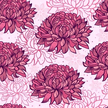 Illustration of seamless pattern with hand drawn chrysanthemums