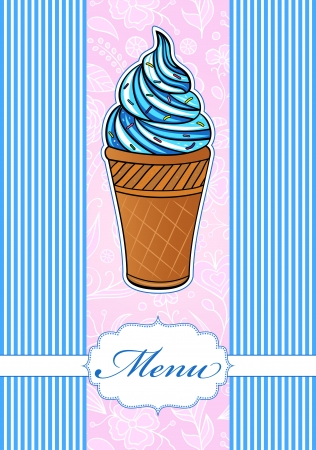 Vector illustration of colorful menu with ice cream icon Stock Vector - 17376576