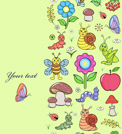 apple snail: Vector illustration of seamless pattern with cute insects