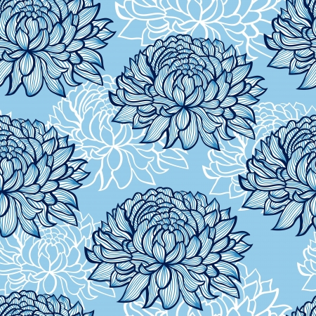 Chrysanthemum: Vector illustration of seamless pattern with abstract hand drawn chrysanthemums