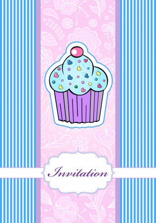 illustration of invitation card with cake Stock Vector - 17445701