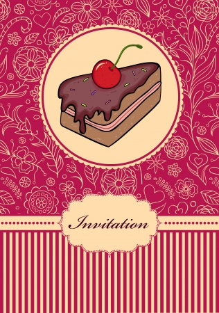 illustration of invitation card with cake Stock Vector - 17445666