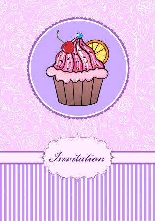 illustration of invitation card with cake Vector