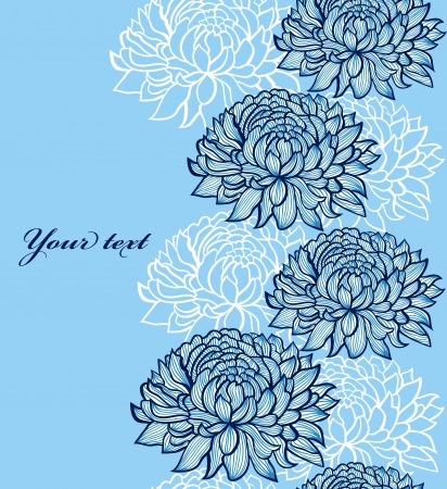 chrysanthemums: illustration of seamless pattern with abstract hand drawn chrysanthemums