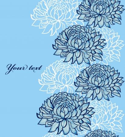 crisantemos: ilustraci�n de patr�n transparente con la mano abstracto dibujado crisantemos Vectores