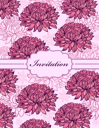 illustration of  colorful hand drawn floral invitation card ( or place your text) Stock Vector - 17445684