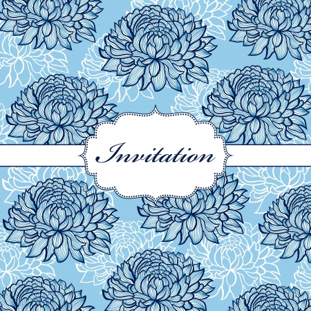 illustration of  colorful hand drawn floral invitation card ( or place your text) Vector