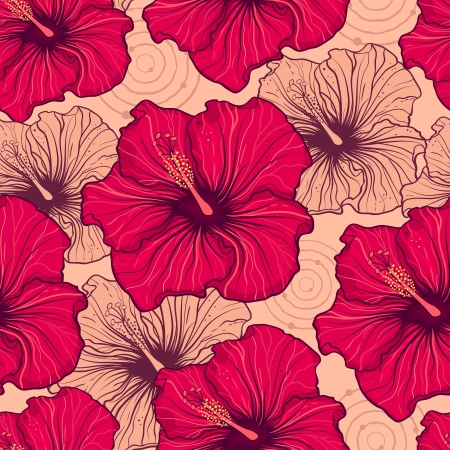 beautiful red hibiscus flower: illustration of seamless pattern with hand drawn hibiscus flowers Illustration