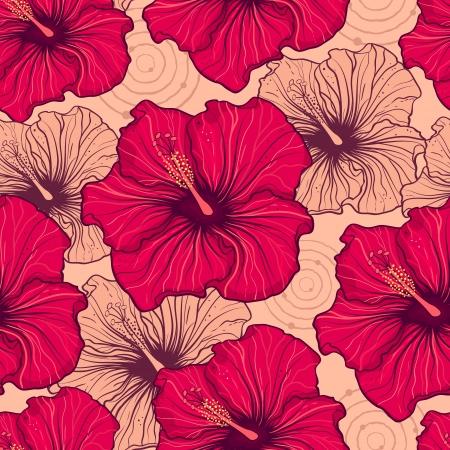 beautiful red hibiscus flower: ilustraci�n de patr�n transparente con flores de hibisco dibujado a mano