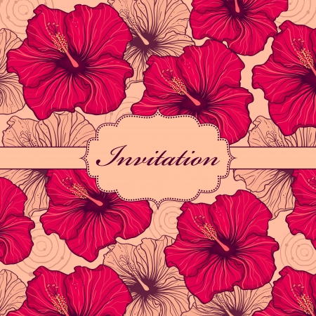 red hibiscus flower: illustration of  colorful hand drawn floral invitation card ( or place your text)