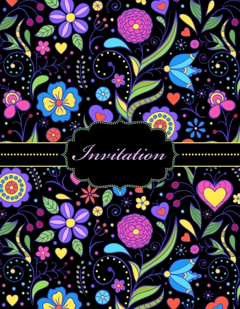 illustration of  colorful hand drawn floral invitation card ( or place your text) Stock Vector - 17445672